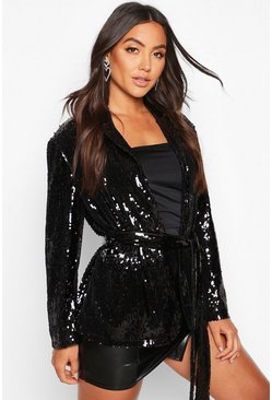Black Belted Wrap Sequin Jacket