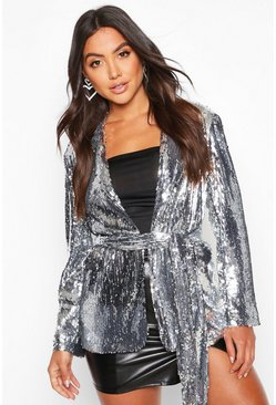 Silver Belted Wrap Sequin Jacket