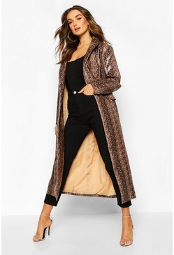 Brown Snake Print Faux Leather Trench