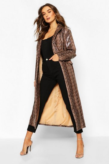 Womens Brown Snake Print Faux Leather Trench