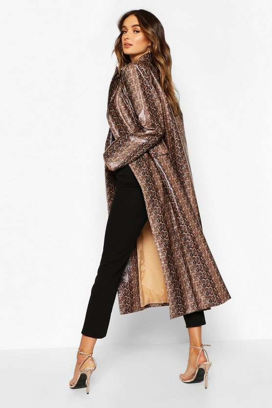 Snake Print Faux Leather Trench