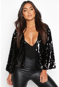 Black Sequin Crop Jacket