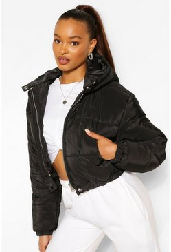Womens Black Hooded Crop Puffer