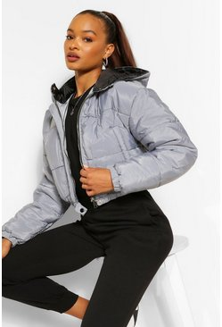 Womens Grey Hooded Crop Puffer