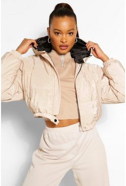 Stone Hooded Crop Puffer