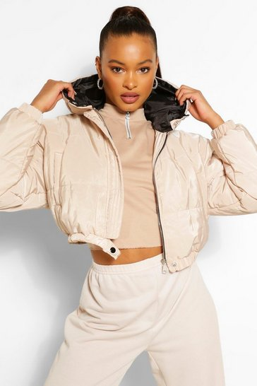 Womens Stone Hooded Crop Puffer