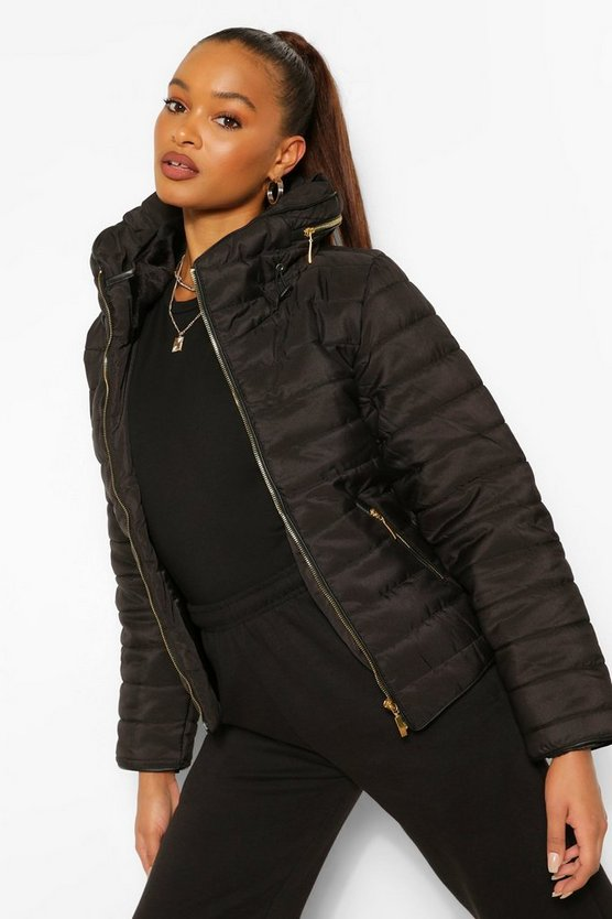 Womens Black Fitted Quilted Jacket