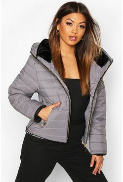 Grey Fitted Quilted Jacket