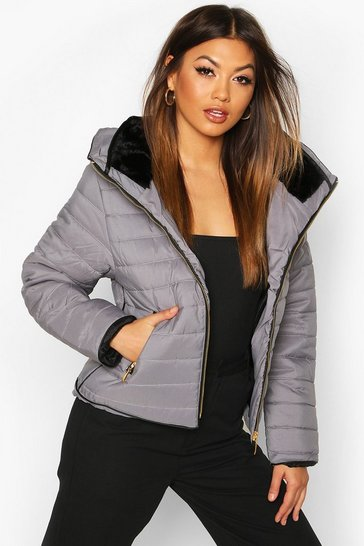 Womens Grey Fitted Quilted Jacket