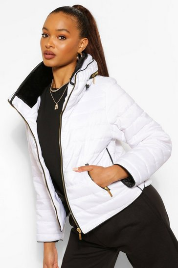 Womens White Fitted Quilted Jacket