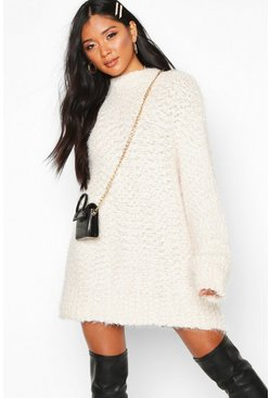 Cream Oversized Premium Boucle Feather Knit Dress