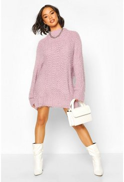 Lilac Oversized Premium Boucle Feather Knit Dress