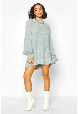 Turquoise Oversized Premium Boucle Feather Knit Dress