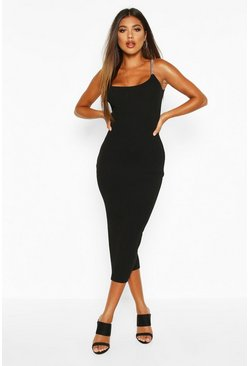 Womens Black Rib Knit Chain Strap Bodycon