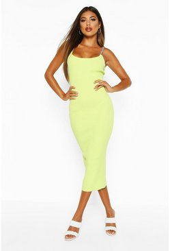 Womens Lime Rib Knit Chain Strap Bodycon