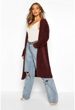 Womens Chocolate Fluffy Oversized Boyfriend Cardigan