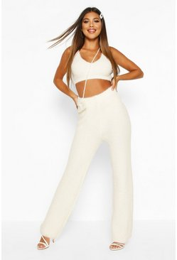 Womens Cream Fluffy Square Neck Crop Set