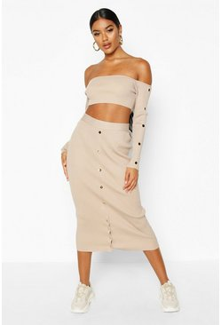 Womens Champagne Premium Button Detail Rib Knit Co-ord