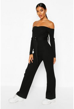Womens Black Premium Knit Bardot Jumpsuit