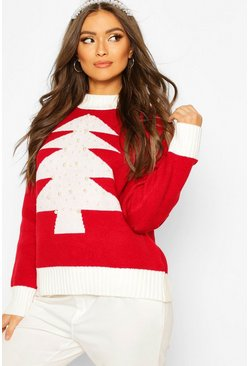 Red Pearl Embellished Christmas Tree Jumper