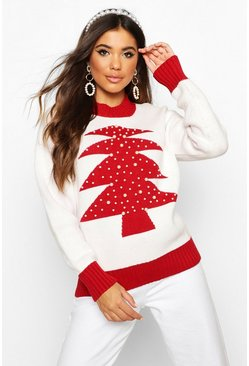 Womens White Embellished Christmas Tree Jumper