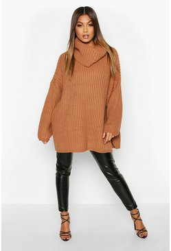 Toffee Chunky Oversized Boyfriend Jumper