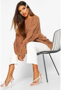 Biscuit Oversized Bobble Knit Sweater