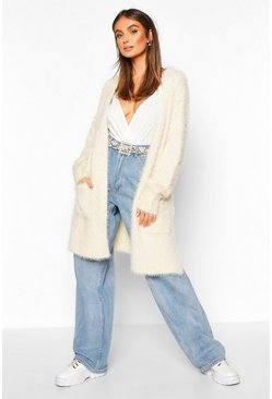 Womens Cream Premium Fluffy Knit Cardigan
