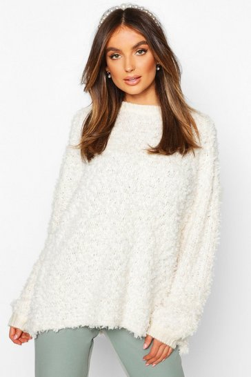 Womens Cream Oversized Teddy Knitted Jumper