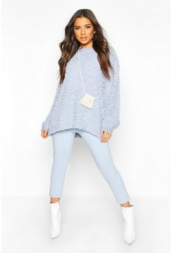 Powder blue Oversized Teddy Knitted Jumper