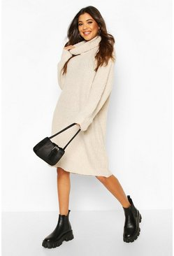 Womens Cream Oversized Rib Knit Boyfriend Jumper Dress