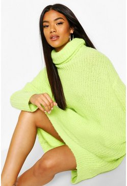 Lime Oversized Rib Knit Boyfriend Jumper Dress