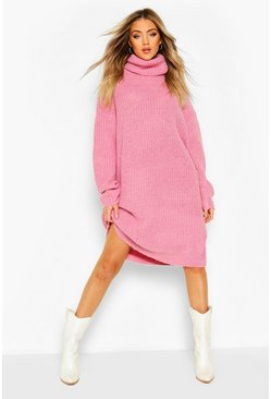 Pink Oversized Rib Knit Boyfriend Jumper Dress