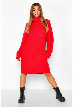 Womens Red Oversized Rib Knit Boyfriend Jumper Dress