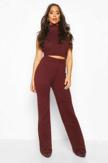Womens Chocolate Fluffy Cropped Roll Neck Trouser Set