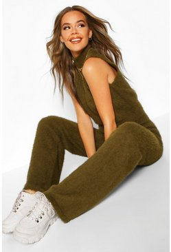 Womens Olive Fluffy Cropped Roll Neck Trouser Set