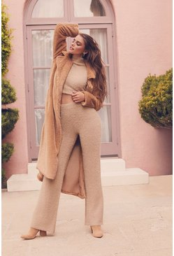 Womens Sand Fluffy Cropped Roll Neck Trouser Set