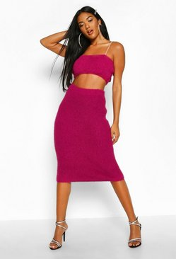 Womens Magenta Fluffy Knit Cropped Top Midi Skirt Set