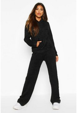 Black Fluffy Oversized Hooded Set