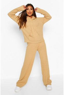 Toffee Fluffy Oversized Hooded Set