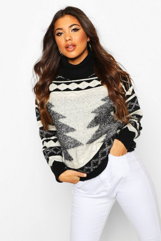 Black Premium Roll Neck Christmas Tree Jumper