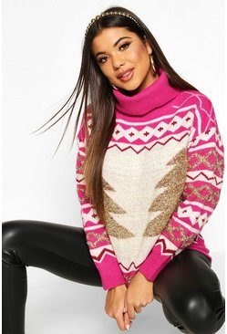 Pink Premium Roll Neck Christmas Tree Jumper