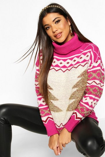 Womens Pink Premium Roll Neck Christmas Tree Jumper