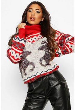 Red Tinsel Reindeer Roll Neck Christmas Jumper