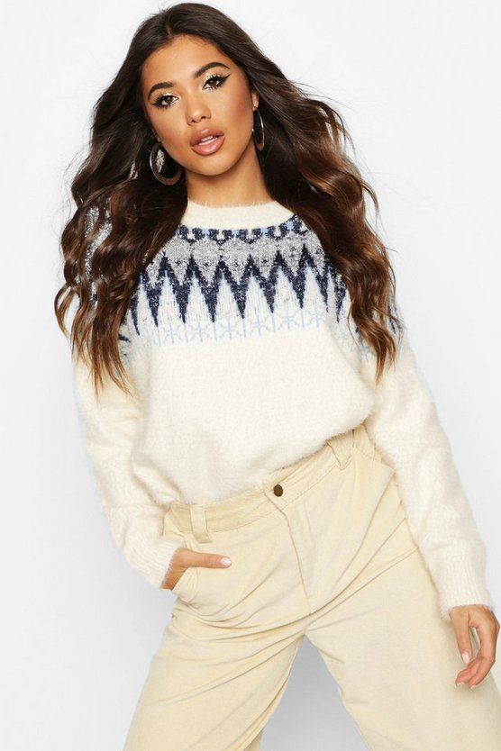 Womens Navy Aztec Tinsel Fluffy Christmas Jumper