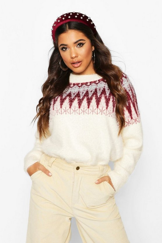 Womens Red Aztec Tinsel Fluffy Christmas Jumper