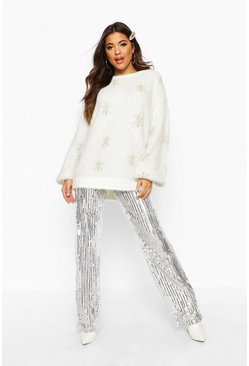 Womens Cream Oversized Feather Tinsel Snowflake Jumper