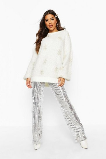Womens Cream Oversized Tinsel Snowflake Fluffy Christmas Jumper