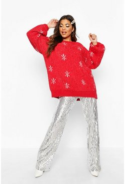 Red Oversized Tinsel Snowflake Fluffy Christmas Sweater