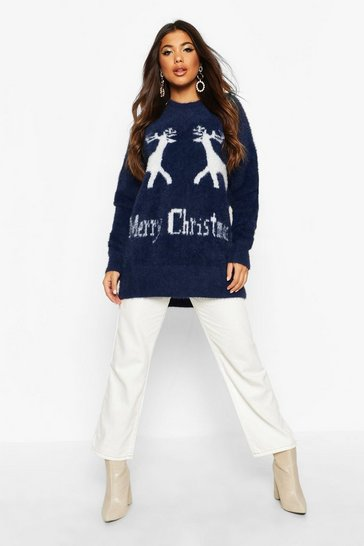 Womens Navy Oversized Fluffy Knit Merry Christmas Jumper
